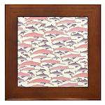 Pink Dolphin Pattern Framed Tile