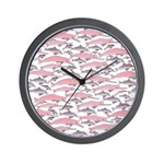 Pink Dolphin Pattern Wall Clock