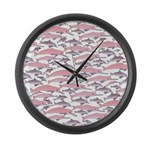 Pink Dolphin Pattern Large Wall Clock