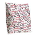 Pink Dolphin Pattern Burlap Throw Pillow