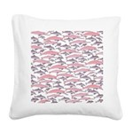 Pink Dolphin Pattern Square Canvas Pillow