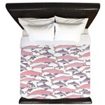 Pink Dolphin Pattern King Duvet