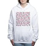 Pink Dolphin Pattern Women's Hooded Sweatshirt