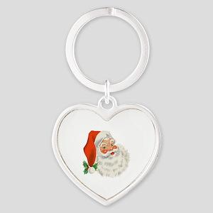 Vintage Santa Heart Keychain