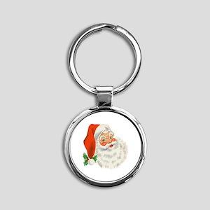 Vintage Santa Round Keychain
