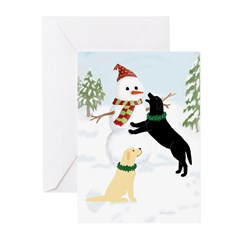 Snowman Black Yellow Lab Holiday Greeting Cards