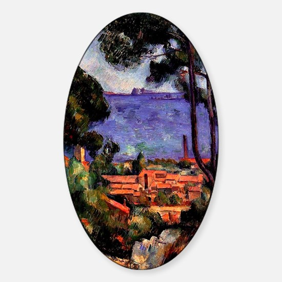 Cezanne - View through the Trees Sticker (Oval)