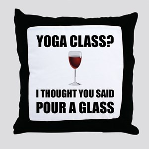 Yoga Class Glass Throw Pillow