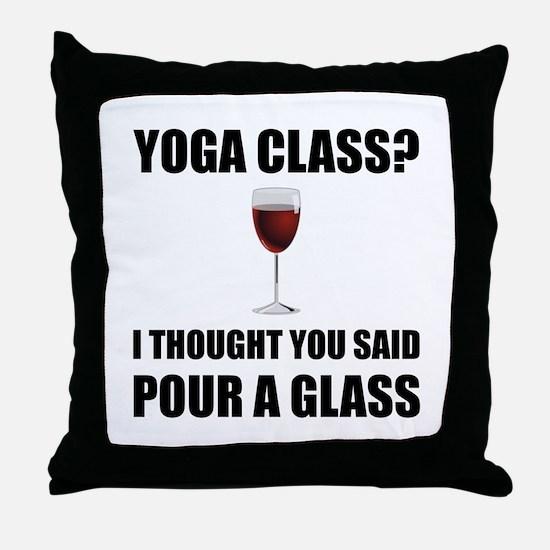 Yoga Class Glass Throw Pillow