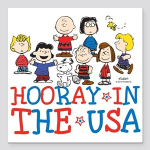 "Hooray in the USA Square Car Magnet 3"" x 3"""