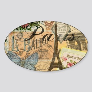 Paris France Vintage Europe Travel Sticker (Oval)