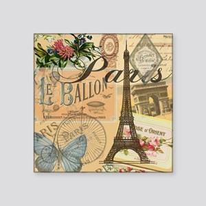 "Paris France Vintage Europe Square Sticker 3"" x 3"""
