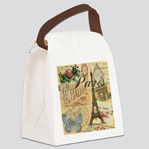Paris France Vintage Europe Trave Canvas Lunch Bag