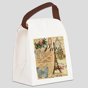 Paris France Vintage Europe Trave Canvas Lunch Bag