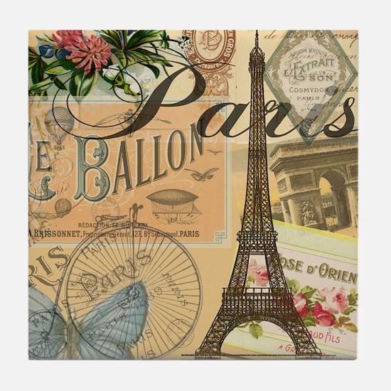Paris France Vintage Europe Travel Tile Coaster