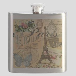 Paris France Vintage Europe Travel Flask