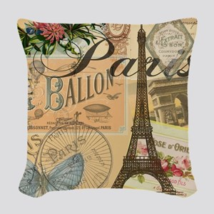 Paris France Vintage Europe Tr Woven Throw Pillow