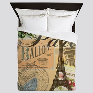Paris France Vintage Europe Travel Queen Duvet