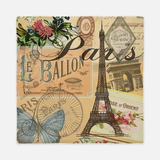 Paris France Vintage Europe Travel Queen Duvet