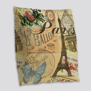 Paris France Vintage Europe Tr Burlap Throw Pillow