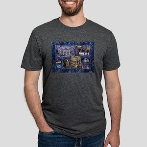 Paris Opera Blue Vintage Collage T-Shirt