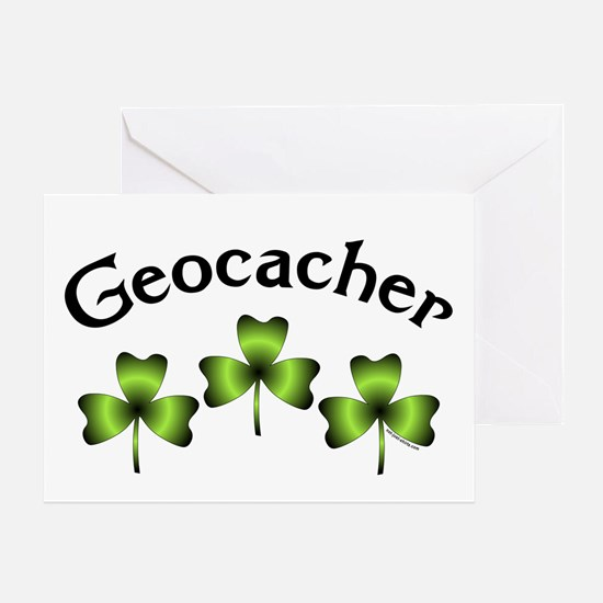 Geocacher 3 Shamrocks Greeting Card