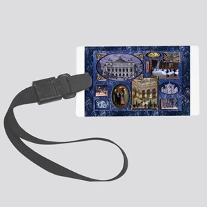 Paris Opera Blue Vintage Collage Luggage Tag