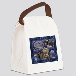Paris Opera Blue Vintage Collage Canvas Lunch Bag