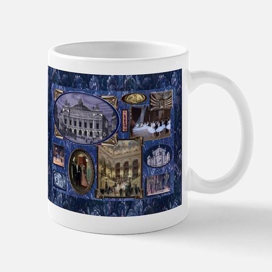 Paris Opera Blue Vintage Collage Mugs