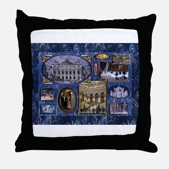 Paris Opera Blue Vintage Collage Throw Pillow