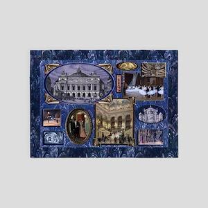 Paris Opera Blue Vintage Collage 5'x7'Area Rug