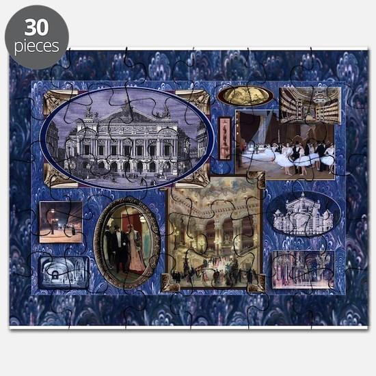Paris Opera Blue Vintage Collage Puzzle