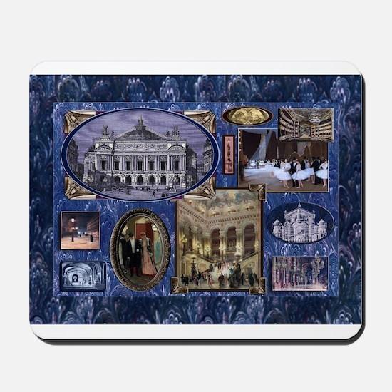 Paris Opera Blue Vintage Collage Mousepad