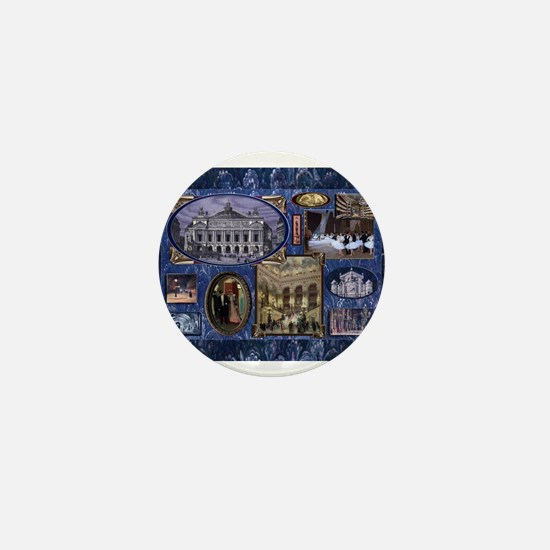 Paris Opera Blue Vintage Collage Mini Button