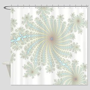 Delicate Aqua Flowers Shower Curtain