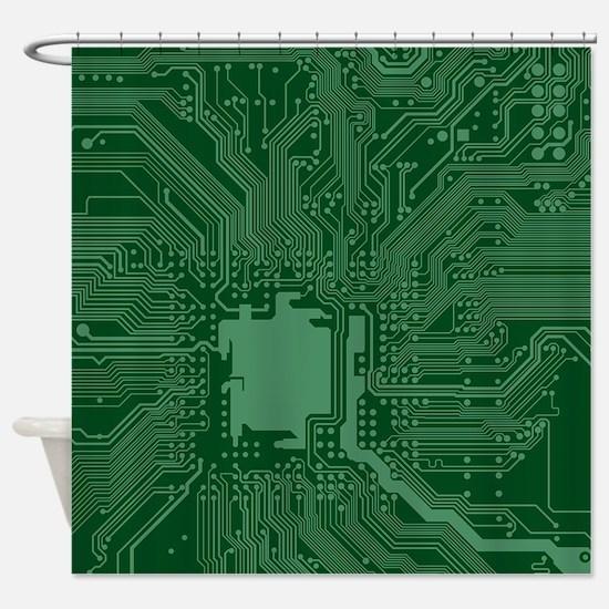Green Geek Motherboard Circuit Patt Shower Curtain