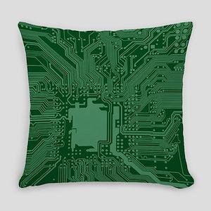 Green Geek Motherboard Circuit Pat Everyday Pillow