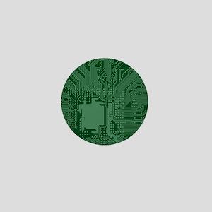 Green Geek Motherboard Circuit Pattern Mini Button