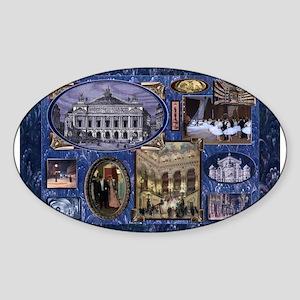 Paris Opera Blue Vintage Collage Sticker