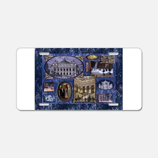 Paris Opera Blue Vintage Collage Aluminum License