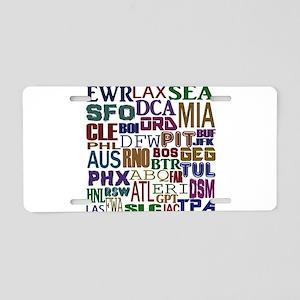 Airport Codes Aluminum License Plate
