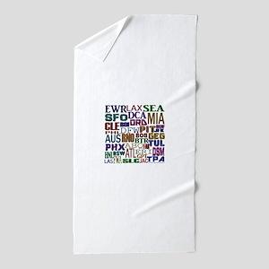 Airport Codes Beach Towel