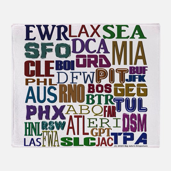 Airport Codes Throw Blanket
