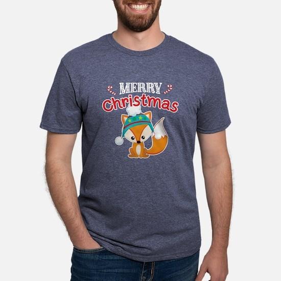 Christmas Fox Mens Tri-blend T-Shirt