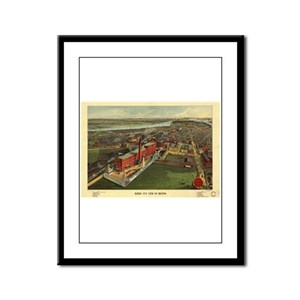 Boston Antique Map Framed Panel Print