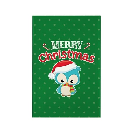 Christmas Owl Rectangle Magnet (10 pack)