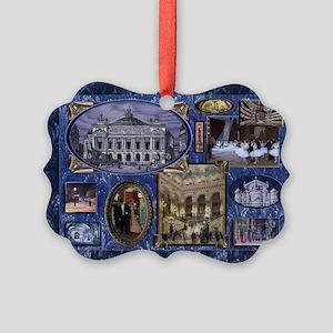 Paris Opera Blue Vintage Collage Ornament