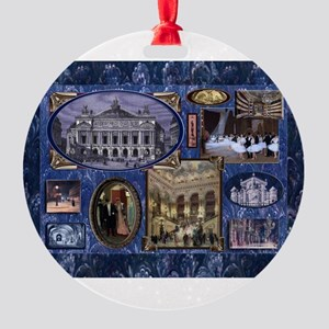 Paris Opera Blue Vintage Collage Ornament