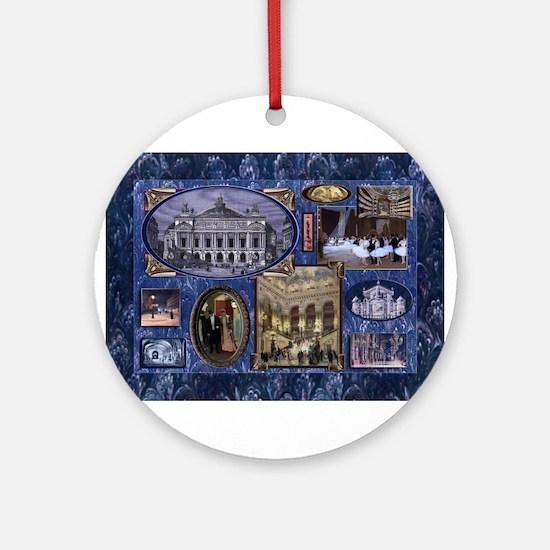 Paris Opera Blue Vintage Collage Round Ornament