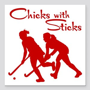 "FIELD HOCKEY Square Car Magnet 3"" x 3"""